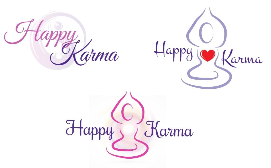 3 verschillende logo ideeën voor HappyKarma
