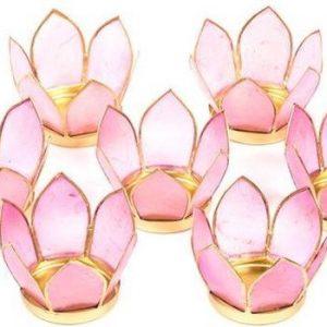 Waxinelichthouders Set van 7: Lotus sfeerlicht klein roze goudrand