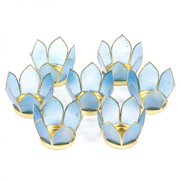 Waxinelichthouders Set van 7: Lotus sfeerlicht klein blauwe goudrand