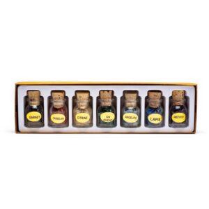 7 flesjes edelstenen in verpakking